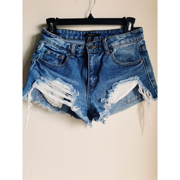 6ad784c1838 Forever 21 Pants - Forever21 Distressed High Waisted Jean Shorts